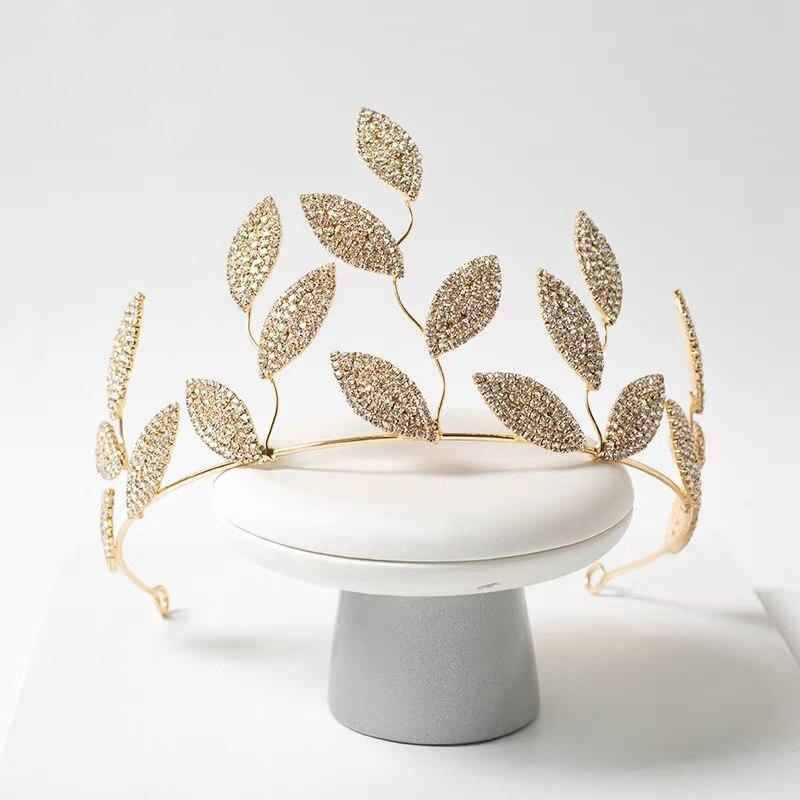 Bavoen Elegant Leaves Wedding Tiaras Crowns Headpices Crystal Bridal Hairbands Soft Evening Hair Jewelry Wedding Gifts