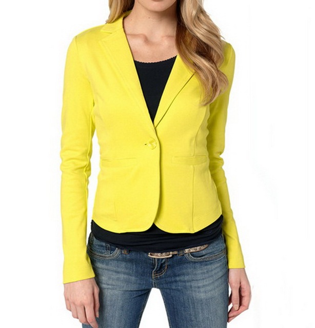 Aliexpress.com : Buy Ladies Yellow Blazer Feminino Formal Jacket ...