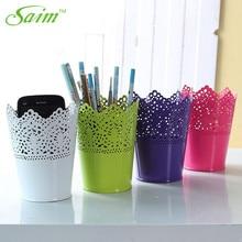 Saim Storage Basket Desktop Plastic Hollow Cutter Box Flower Pen Pot Makeup Brush Holder Baskets