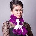 winter Real fur scarf for women Lady Genuine Rex Rabbit Fur Scarves Wraps Women Fur Accessory Female Neckerchief lattice scarf