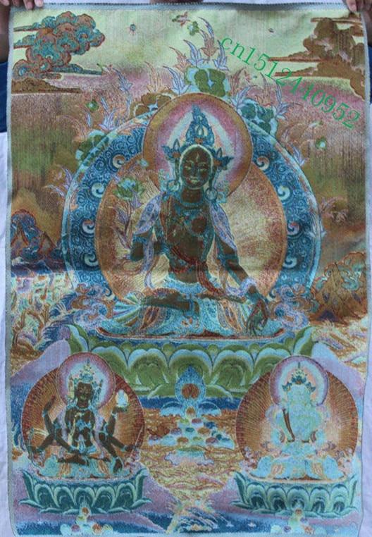 "36/"" Tibet Buddhism Silk Cloth White Tara 7 eyes Thangka Painting Mural"
