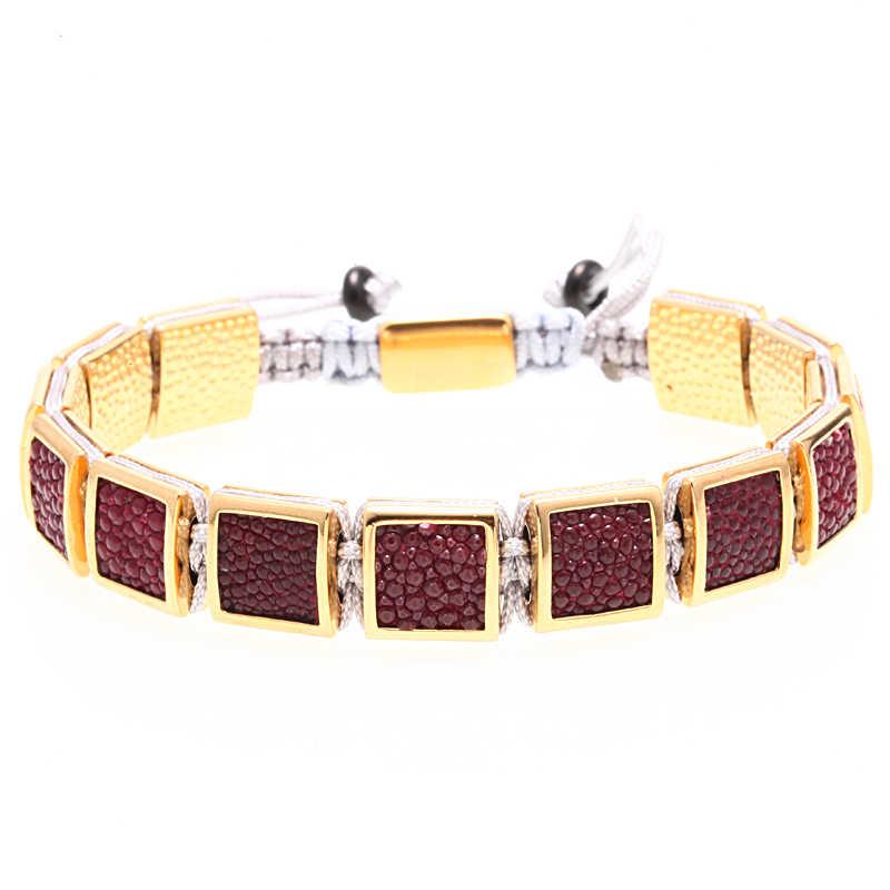 Mcilroy luksusowa bransoletka mężczyźni moda ręcznie robione złoto akcesoria CZ Stingray skóry pleciona bransoletka mężczyzna niestandardowe Logo mężczyźni biżuteria nowy