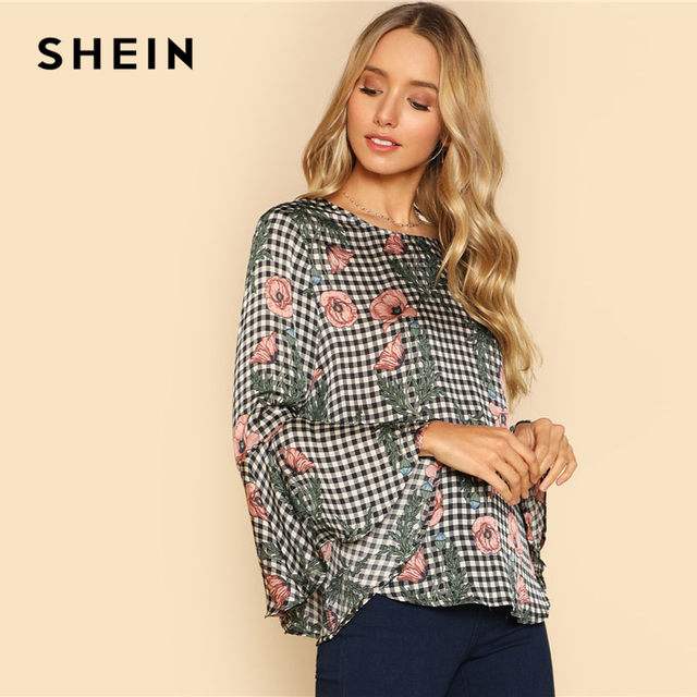 d0a5251777 SHEIN Plaid, Floral Mixed Print Ruffle Sleeve Top Casual Round Neck Flare  Sleeve Blouse 2018 Spring Women Knot Blouse