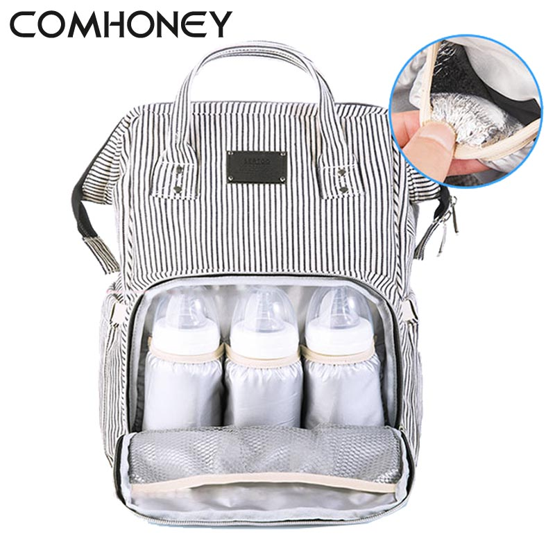 Baby Diaper Bag Stripe Mummy Travel Backpack Brand Large Capacity Maternity Bag Nursing Changing Nappy Bags For Baby Care Wetbag стоимость