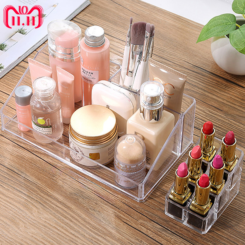 1pcs Crystal Cosmetic box Organizer Makeup Jewelry Storage Lipstick make-up brush Holder Display Box Acrylic Case Stand Rack new arrive hot 2pc set portable jewelry box make up organizer travel makeup cosmetic organizer container suitcase cosmetic case