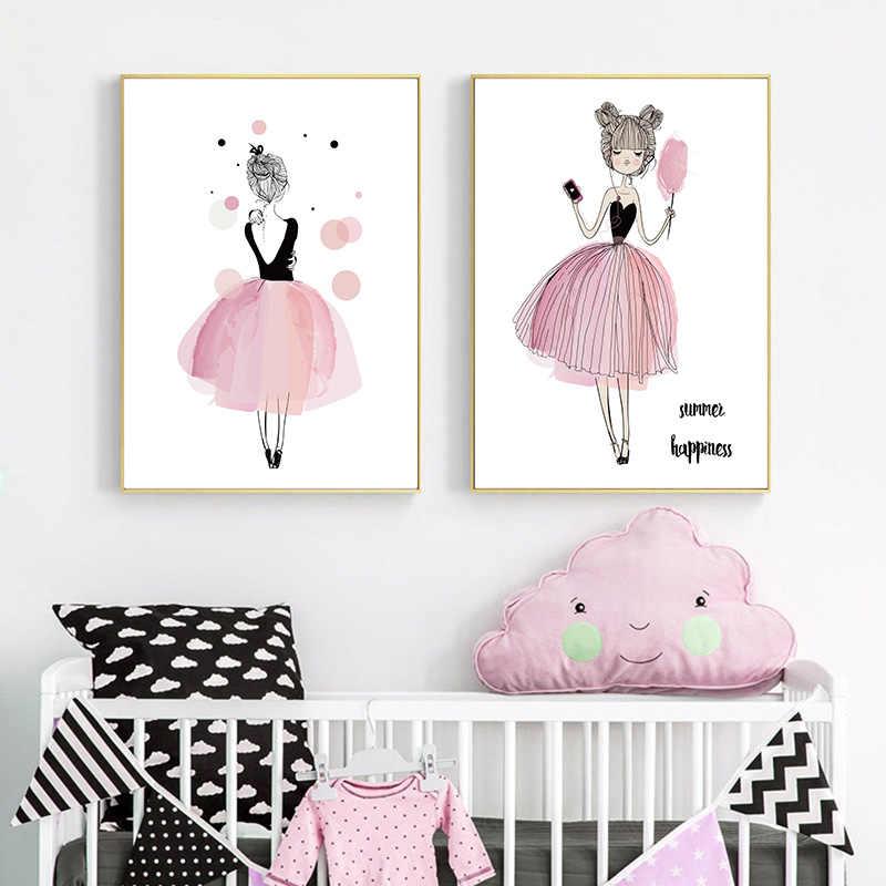 Розовый мультфильм девушка холст плакат настенная живопись садик печать живопись минималистский скандинавские дети декоративные картины украшение детской комнаты