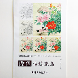 Chinese Traditional Flowers and Birds White Painting Adult Coloring Book 12Pcs Big Size Drawing Papers (48x41cm/19.2x16.1In)
