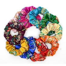Embroidery elastic hair band scrunchie women turban fashion headwrap chinese style headband silk accessories for girls ties