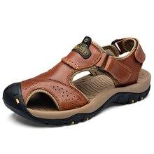 男性カジュアルサンダル本革クールファッションメンズビーチの靴 Portective つま先キャップ男性のサンダルの靴ドロップ荷主