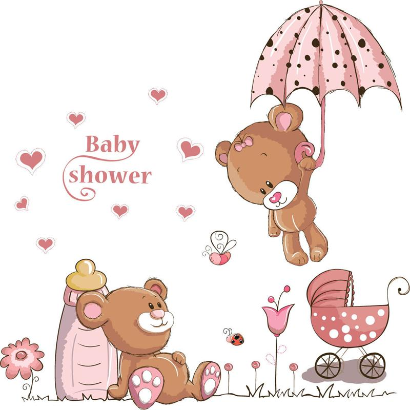 Baby Girl Nursery Removable Wallpaper Cartoon Pink Umbrella Bear Wall Stickers For Kids Rooms