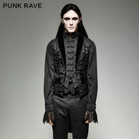 Punk Rave Mens Gothic Vest Fake Two Pieces Victoria Swallow Tail Sleeveless Elegant Evening Party Stage Performance Waistcoat