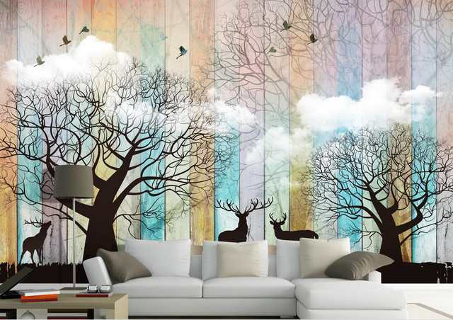 US $11.18 57% OFF customize 3d wall murals wallpaper Forest elk kitchen  wallpaper 3d stereoscopic bedroom 3d wallpaper living room-in Wallpapers  from ...