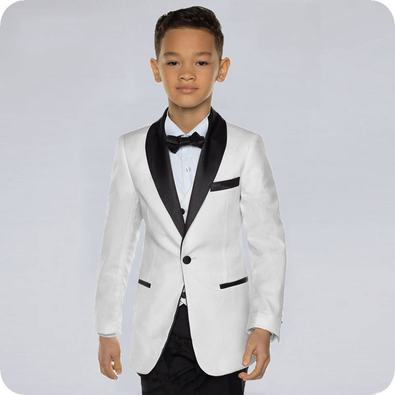 White Boy Suits For Wedding Black Shawl Kids Blazer Suit For Boy Costume Enfant Garcon Mariage Child Blazer Groom Tuxedo 3Piece