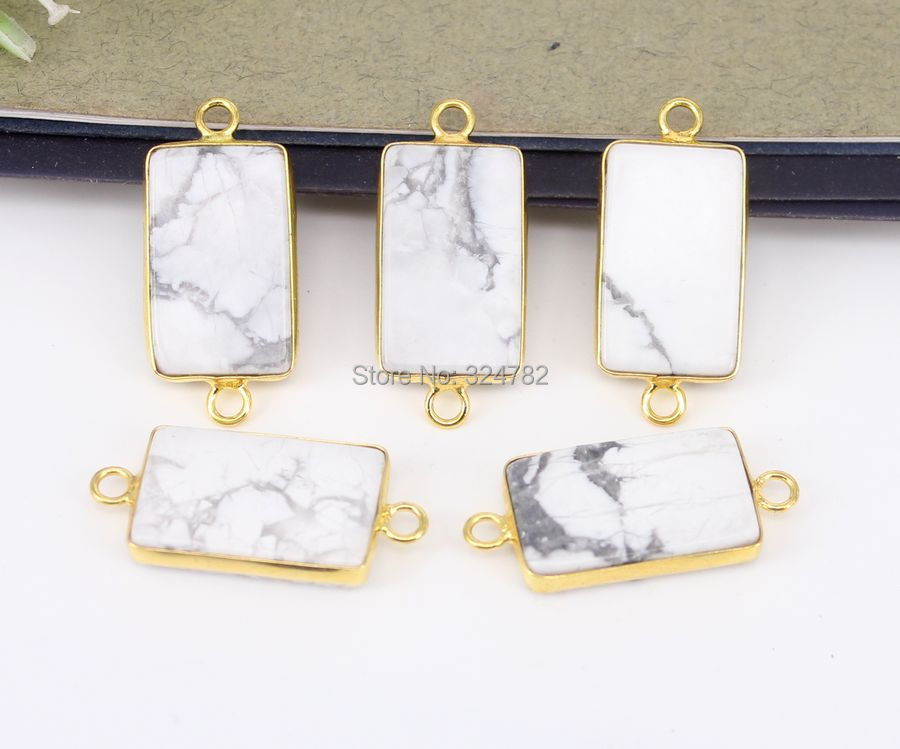 10pcs White Stone rectangle Connectors beads,Gold Metal Natural Gem stone Connectors For Making Bracelets Jewelry Findi