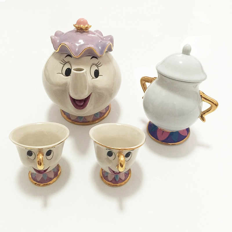 CUTE Beauty And The Beast Teapot Mug Mrs Potts Chip Cup Cartoon Tea Pot Cup Set Cogsworth Nice Xmas Birthday Gift For Friend