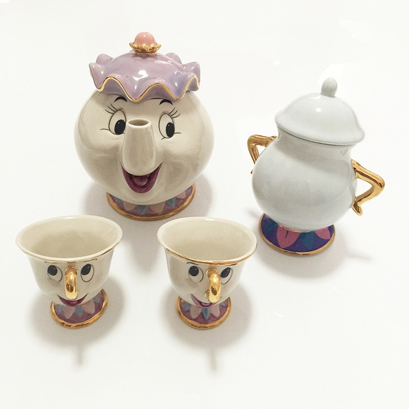 CUTE Beauty And The Beast Teapot Mug Mrs Potts Chip Cup Cartoon Tea Pot Cup Set Cogsworth Nice Xmas Birthday Gift For Friend