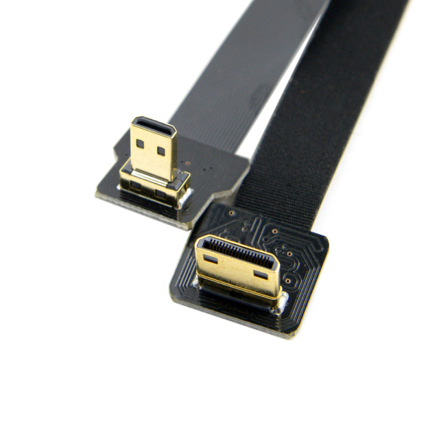 0.1M-1M 90 Degree Up Angled FPV Micro HDMI Male to Mini HDMI FPC Flat Cable for GOPRO Multicopter Aerial Photography 0.2M 0.5M
