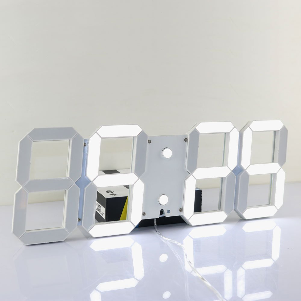 US $78 61 30% OFF|Large Modern 3D Design Digital Led Wall Clock Watches 24  or 12 Hour Display Alarm Clock With Remote Control-in Wall Clocks from Home