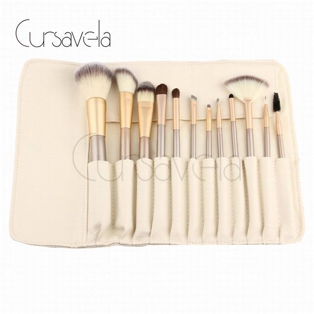Pincéis De Maquiagem Set Beige 12 Pcs Conjunto De Maquiagem Escovas  Fundação Pó Pincel De Blush
