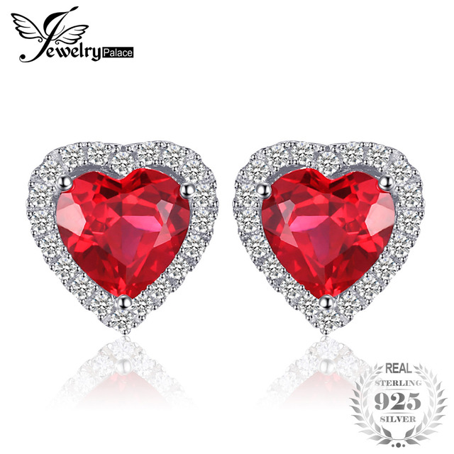 JewelryPalace 3.51ct Heart Pigeon Blood Created Ruby Stud Earrings Women Romantic Wedding Fine Pure 925 Solid Sterling Silver
