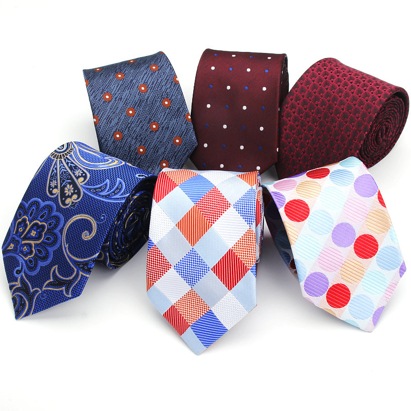 23 Style Neck Tie Men 7.5cm Skinny Necktie Wedding Ties Polyester Black Dot Plaid Fashion Mens Business Wedding Stripe Neck Ties
