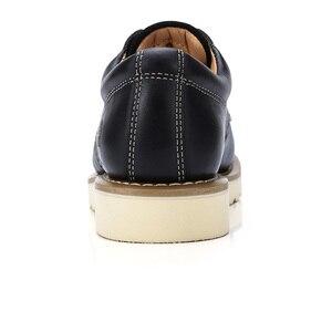 Image 4 - الجمل حذاء رجالي الخريف الرجعية جلد طبيعي الأدوات رجل عادية سميكة أسفل الخياطة الموضوع الدانتيل متابعة الأحذية