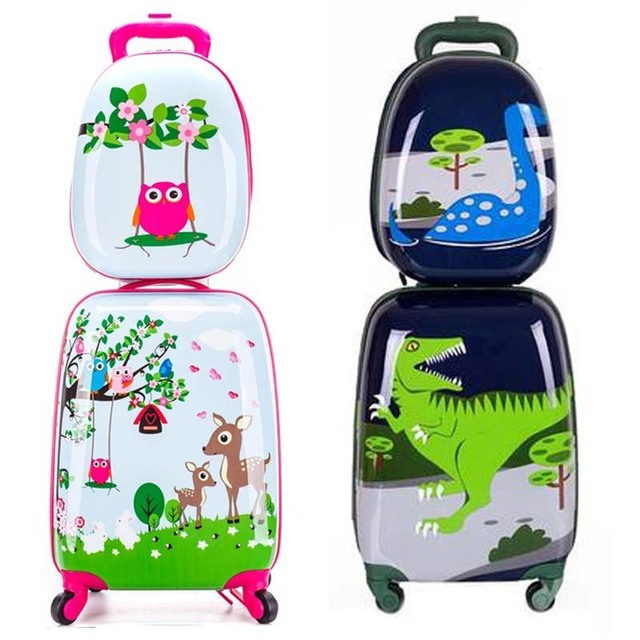 BeaSumore Children Rolling Luggage Set Backpack Kid Suitcase Wheels Cute Cartoon Trolley Case Carry on Student Travel Bag Trunk