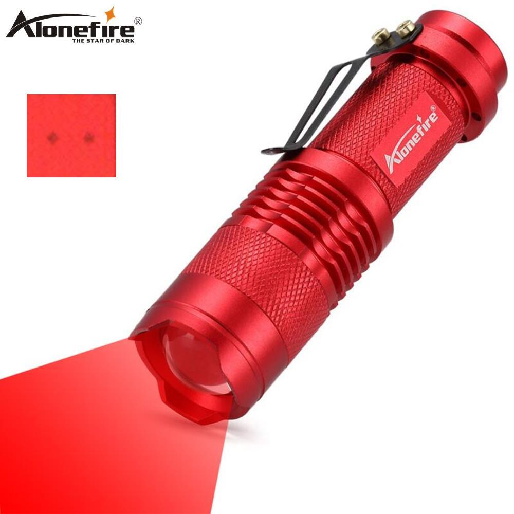 AloneFire SK68 Red Light Flashlight Red Hunting Tactical Torch Bees Fishing Blood Vessels Hotel Camera Detector Light AA Battery