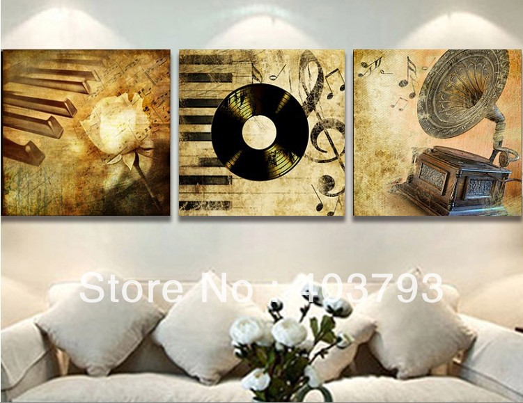 100% Hand painted  Wall art home Decor Oil Painting on canvas 3pcs classic musica Free shipping