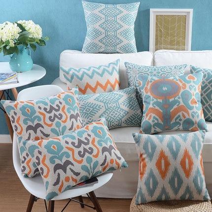 Mbulesë jastëk Vintage blu gri Abstrakte Mbulesa jastëk gjeometrike Ikat Mbulesë jastëk stili Nordico në shtëpi Rasti dekorativ i jastëkut 45x45cm / 30x50cm