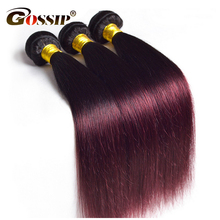 Gossip Ombre Brazilian Straight Hair Weave Bundles Two Tone Human Hair Bundles 1Piece Only Double Weft Hair Extension Non Remy