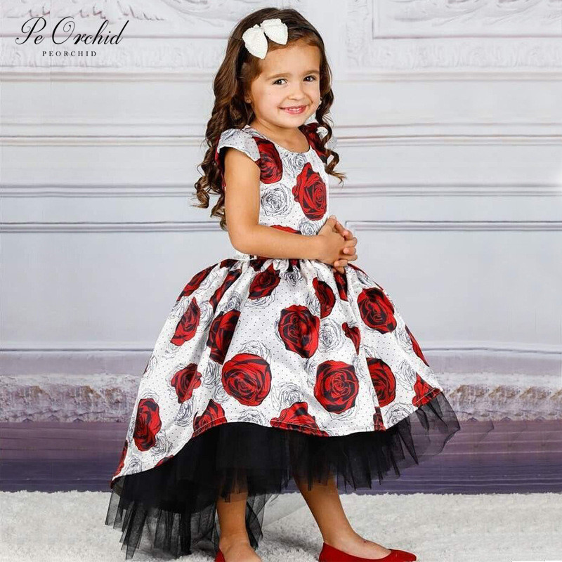 PEORCHID Princess Hi Lo   Flower     Girl     Dress   Trouwjurk Meisje Birthday Party   Dress   Rose Floral Kids Pageant Gown 2019
