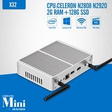 Laptop Computer Celeron N2808 N2920 DDR3 2G RAM 128G SSD 2*HDMI 1*LAN 6USB Tablet Computer Case Mini PC Fanless PC Windows 7/8.1