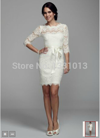 2016 Short Lace Sheath Wedding Dresses With 3 4 Sleeves And Ribbons Style Xs6160 In From Weddings Events On Aliexpress