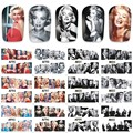 12 листов водных переводных картинок, искусство ногтей, Мерцающая татуировка, полное покрытие, красота, Мэрилин Монро, стильные Переводные к...