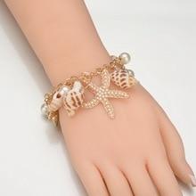 Bohemian Starfish & Shell Pendant Bracelets for Women Boho Charm Bracelet Femme Accesorios Mujer Wholesale Beach Jewelry