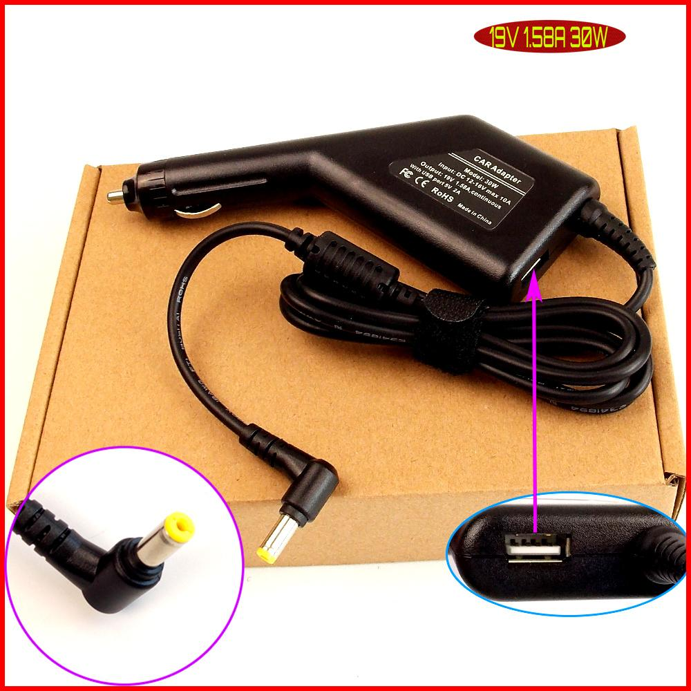 Laptop <font><b>DC</b></font> <font><b>Power</b></font> Car <font><b>Adapter</b></font> Charger <font><b>19V</b></font> 1.58A + USB Port for Acer Aspire One ZG-5 ZG5 ZG8 ZE6 E1A 753 752 521 150 1551 image