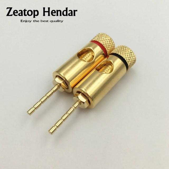 2Pcs Brass Gold plated PIN Plug 2mm Male Banana Plug Straight ...
