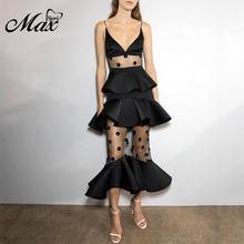 Max Spri 2019 New Fashion Style Black Women Dress Lace Tiered Spaghetti Straps Mermaid Midi