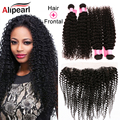 Ali Pearl Hair Curly 13x4 Full Lace Frontal Closure With Bundles Brazilian Virgin Hair Kinky Curly With Closure 8A Grade