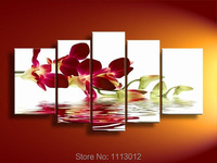Agua De Flor de Lirio Rojo moderno Paisaje Pintura Al Óleo Sobre Lienzo Abstracto 5 Panel de Arte Set Home Decor Pared Imagen For Living Room
