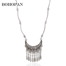 Ethnic Jewelry Necklace Vintage Silver Color Hollow Carved Metal Flower Tassel Pendants Necklace Women Beaded Chain Gift Bijoux vintage jewelry bohemian tibetan silver chain necklaces gypsy ethnic carved metal flower pendants necklaces for women