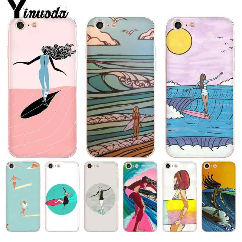 Yinuoda ท่อง Art Surf Girl โปร่งใสสำหรับ iPhone 8 7 6 6S PLUS X 5S SE XS MAX XR11 11pro 11 PROMAX