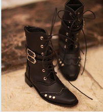 Handsome Black Rivet Leather Boots for BJD Doll 1 4 1 3 SD17 Uncle SSDF Shoes