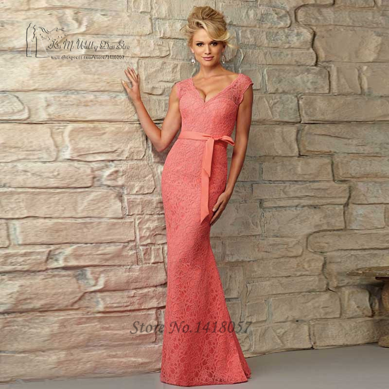 2016 Sexy Coral Bridesmaid Dress Long Mermaid Prom Dresses Lace Open Back V Neck Floor Length