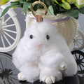 Super Cute Soft 100% Rabbit Fur Animal Rabbit Key Chains Purse Bag Jeans Decoration Pendant Jewelry Baby Girls Toy Lovely Gift