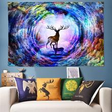 Rainbow Elk Forest Tapestry Psychedelic Tapestry Wall Hanging Boho Decor Watercolor Art Hippie Mandala Tapestry Bedside Wall Rug цена в Москве и Питере