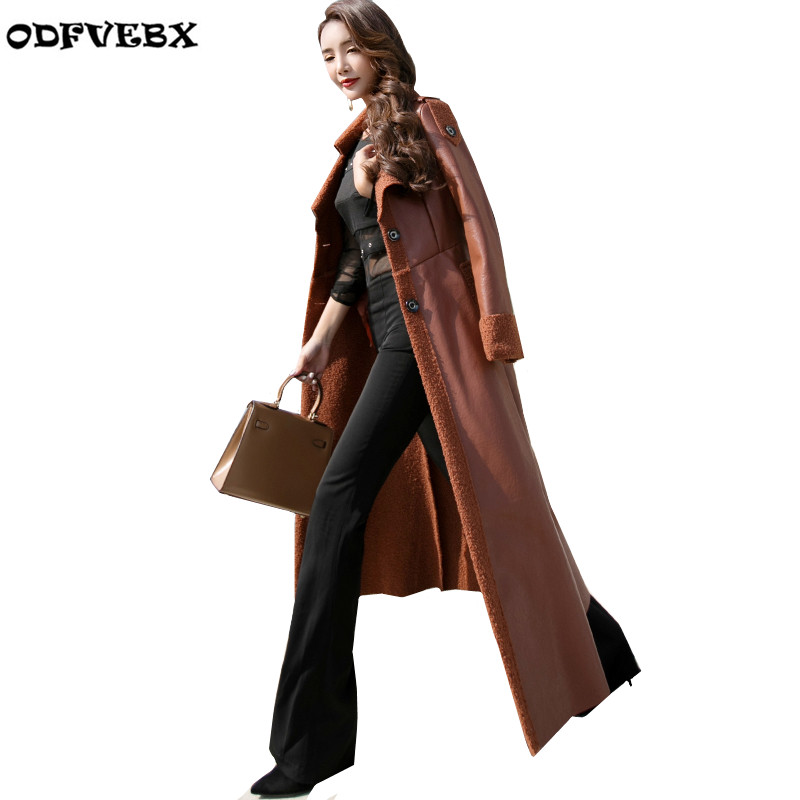 fashion Long leather women jackets winter new slim Show thin lapel leather Overcoats Large size warm lamb hair women basic coats