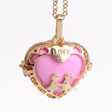 12pc/lot Couple Love Heart Copper Hollow Cage Chime Box Pendant Maternity Pregnancy Necklace With Musical Sound Bell Ball HCPN07