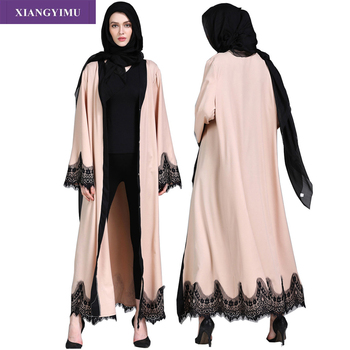 F8809-2 Muslim Lace Splicing Coat Middle East Long Robe Kaftan dubai abayas for women